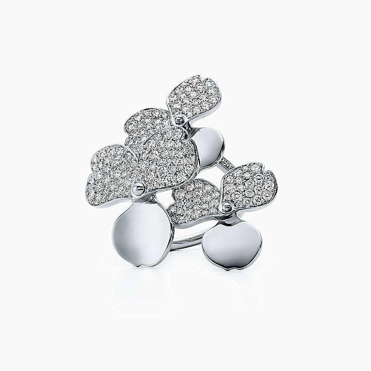 Tiffany Paper Flowers:鑽石花簇戒指