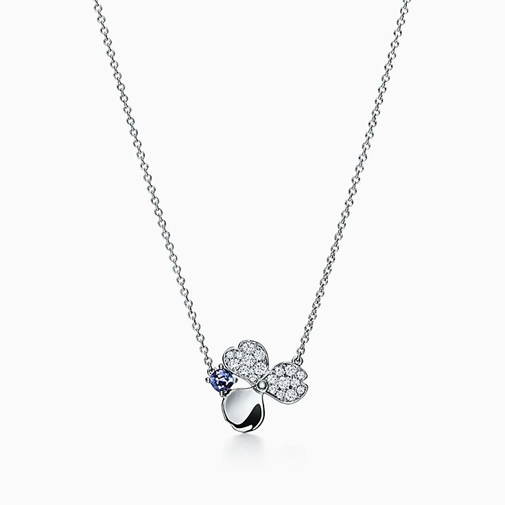 Tiffany Paper Flowers:鑽石及丹泉石花卉鏈墜