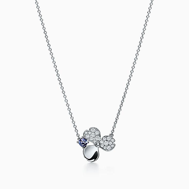 Tiffany Paper Flowers™:다이아몬드 및 탄자나이트 플라워 펜던트