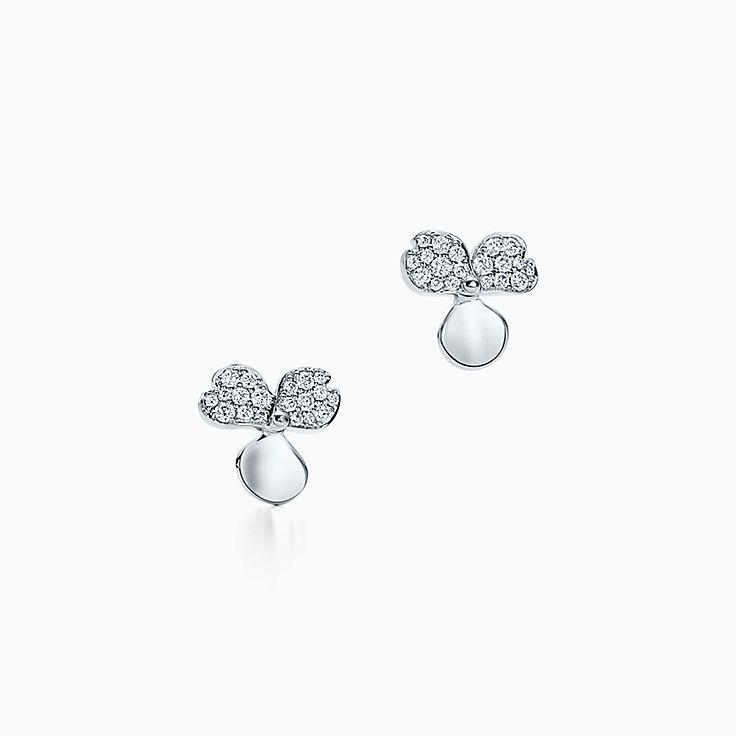 Tiffany Paper Flowers:鑽石花卉耳環