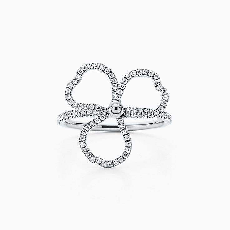 Tiffany Paper Flowers:鑽石鏤空花簇戒指