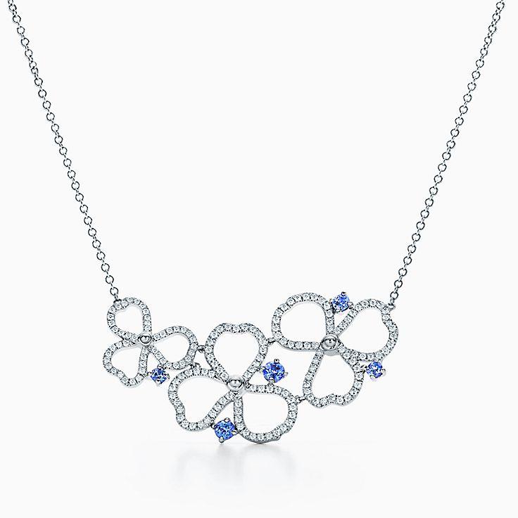 Tiffany Paper Flowers:鑽石及丹泉石鏤空花簇項鏈