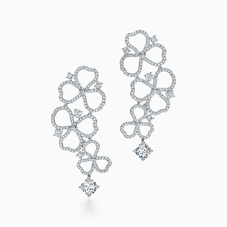 Tiffany Paper Flowers:鑽石鏤空花卉垂墜式耳環