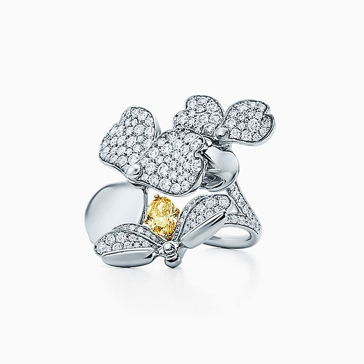 Tiffany Paper Flowers™:옐로우 다이아몬드 파이어플라이 링