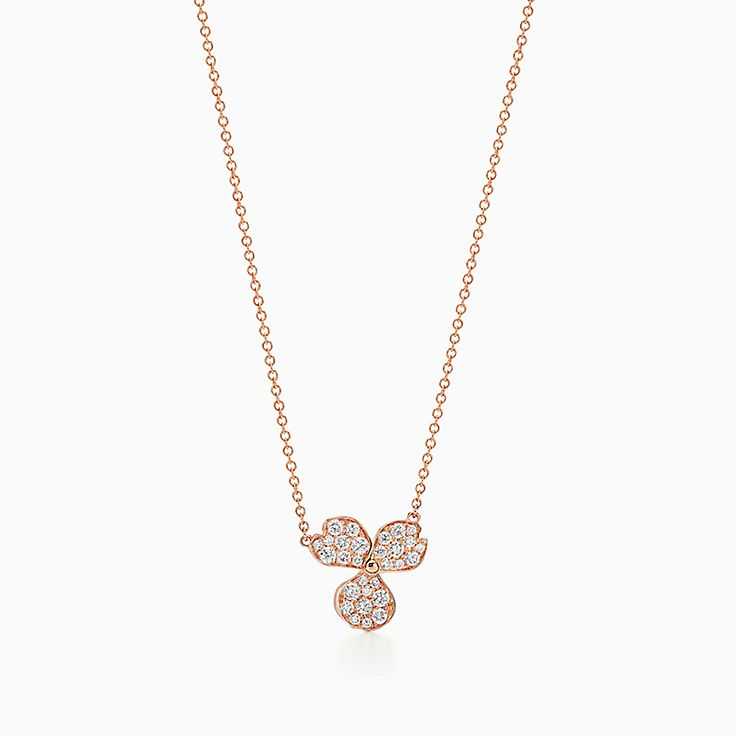 Tiffany Paper Flowers:密鑲鑽石花卉鏈墜