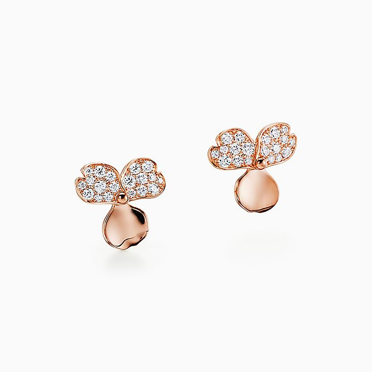 Tiffany Paper Flowers™:Серьги в виде соцветий с бриллиантами