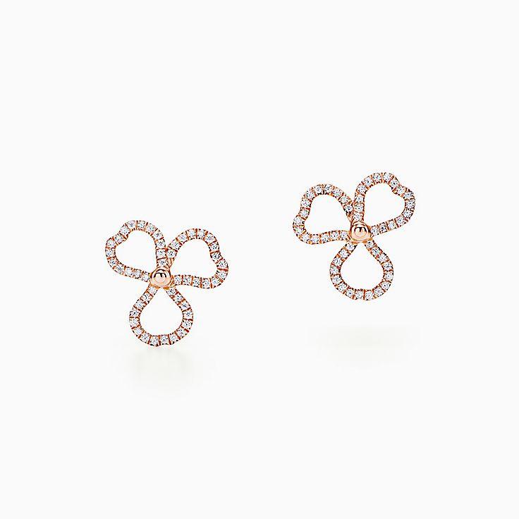 Tiffany Paper Flowers™:Серьги в виде открытых соцветий с бриллиантами