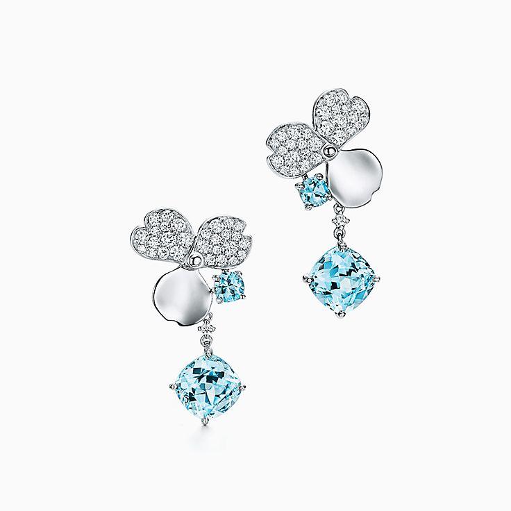 Tiffany Paper Flowers:海水藍寶石單隻垂墜式耳環