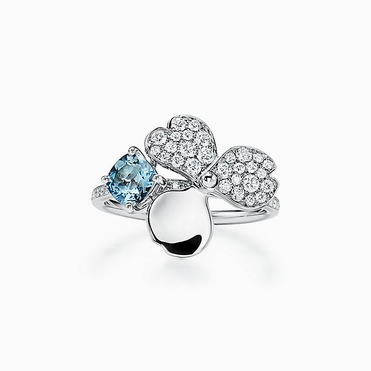 Tiffany Paper Flowers:鑽石及海水藍寶石花卉戒指