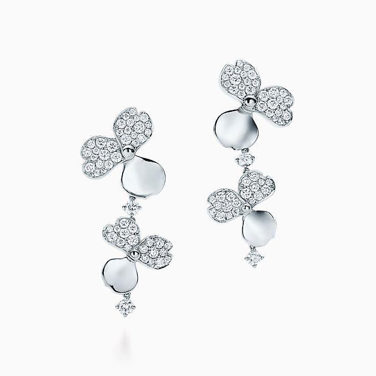 Tiffany Paper Flowers™:Brincos de gota Cluster com diamante