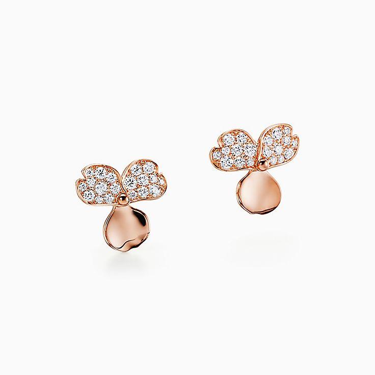 Tiffany Paper Flowers™:Brincos Flower com diamante