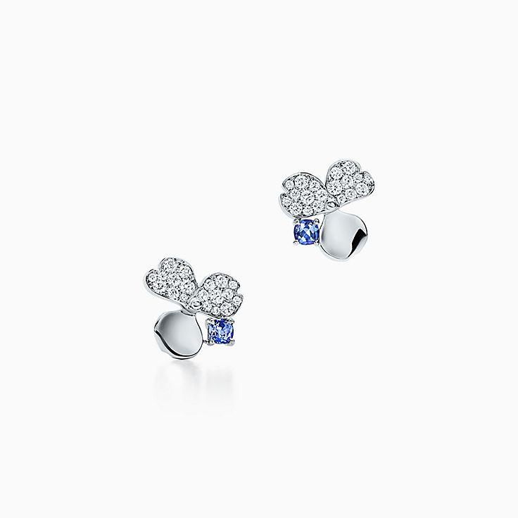 Tiffany Paper Flowers™:Brincos Flower com diamante e tanzanita