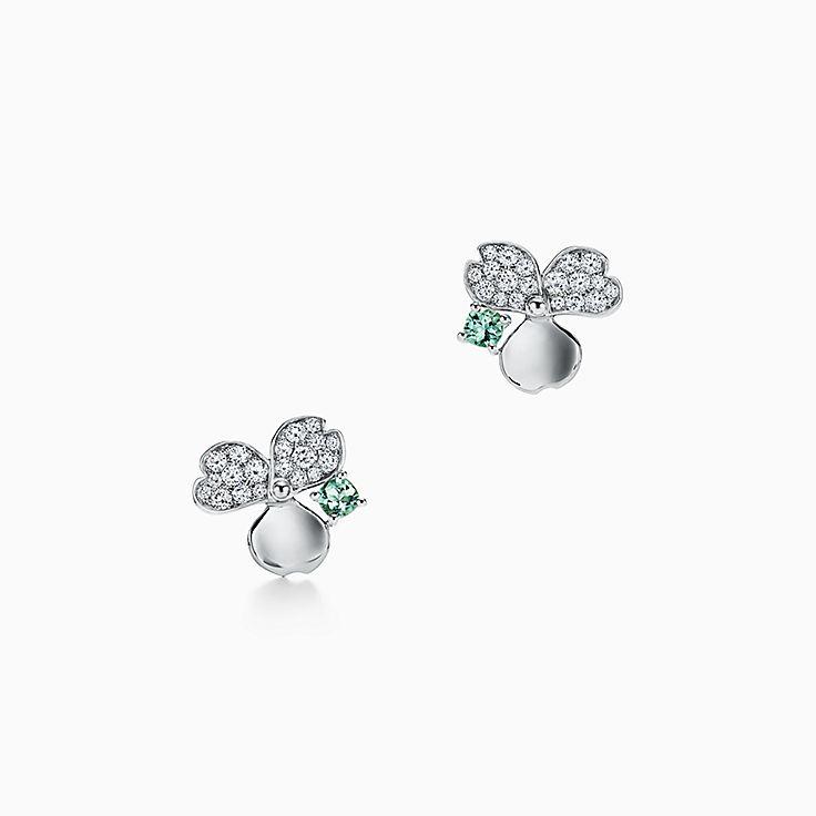 Tiffany Paper Flowers™:Brincos Flower com turmalina verde