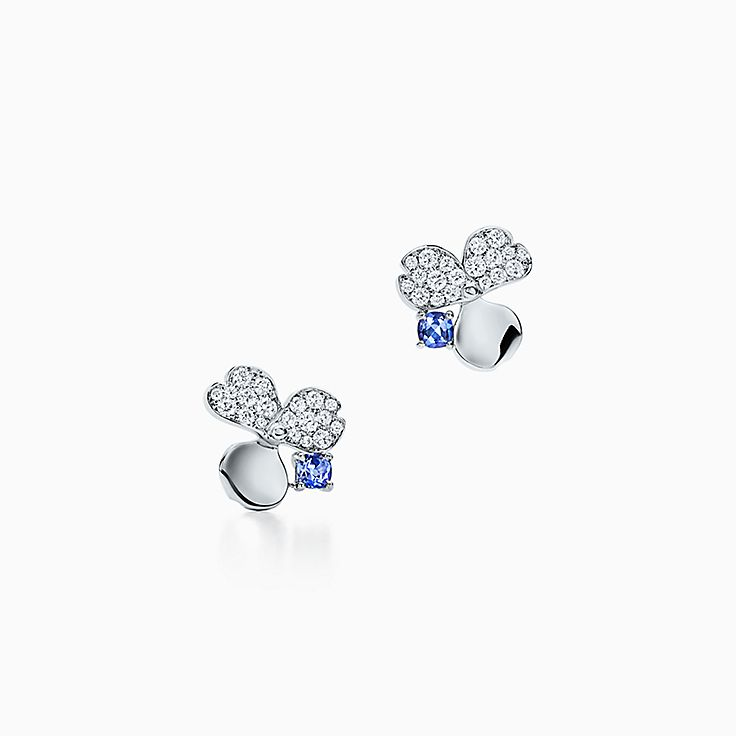 Tiffany Paper Flowers®:Diamond and Tanzanite Flower Earrings