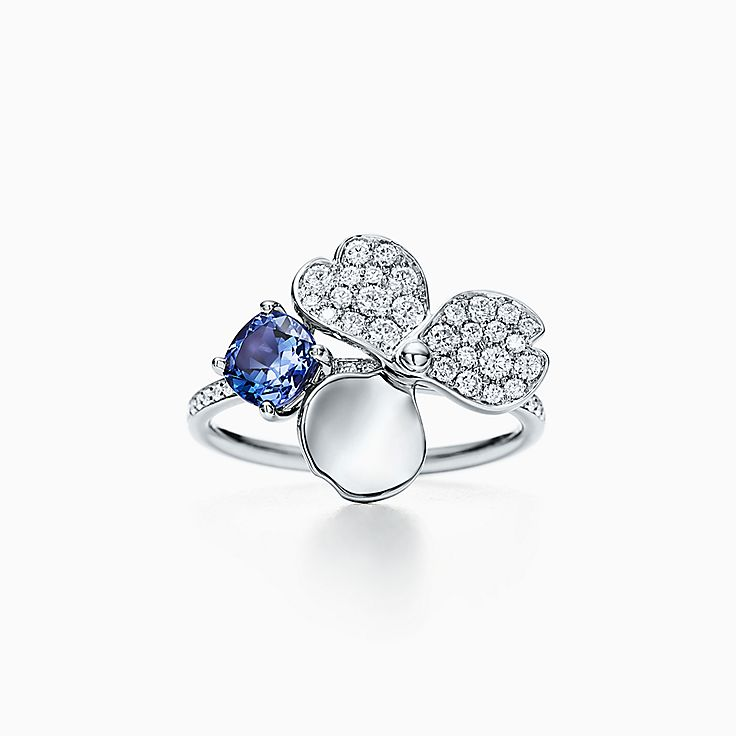 Tiffany Paper Flowers™:Diamond and Tanzanite Flower Ring