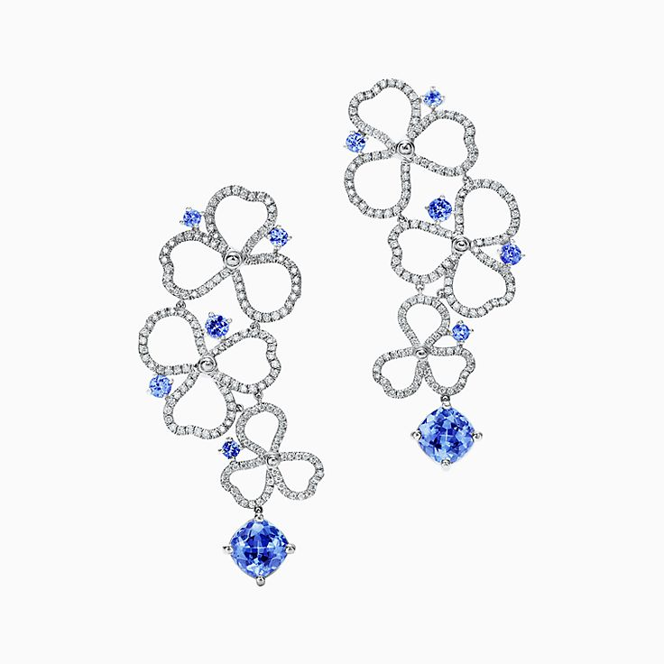 Tiffany Paper Flowers®:Diamond and Tanzanite Open Drop Earrings
