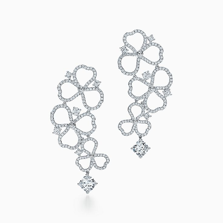 Tiffany Paper Flowers®:Diamond Open Flower Drop Earrings