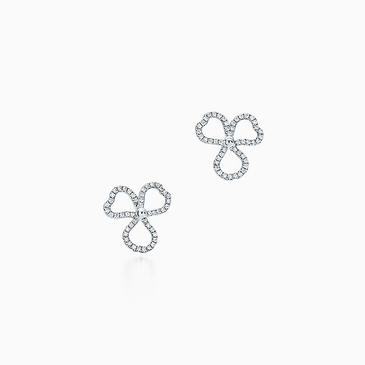 Tiffany Paper Flowers®:Diamond Open Flower Earrings