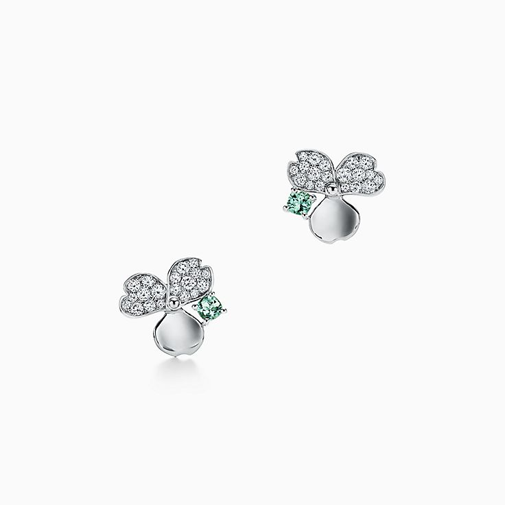 Tiffany Paper Flowers®:Green Tourmaline Flower Earrings