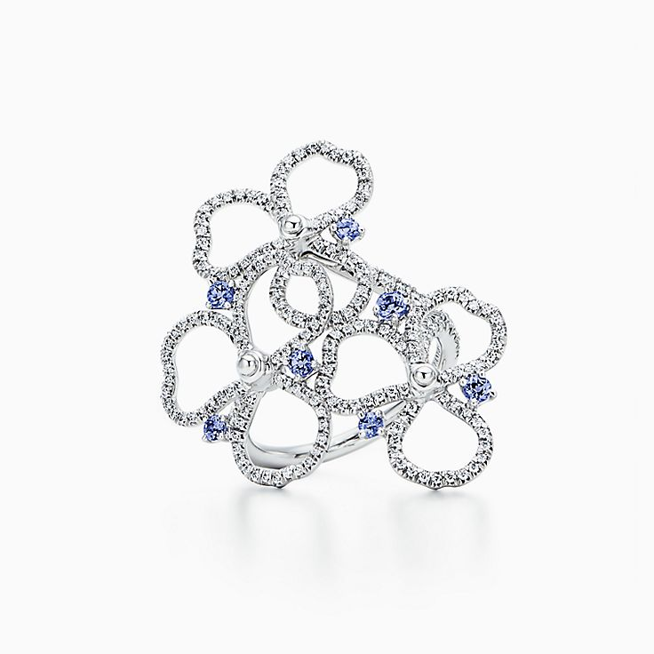 TiffanyPaperFlowers(MC):Bague ajourée Fleur à diamants et tanzanites