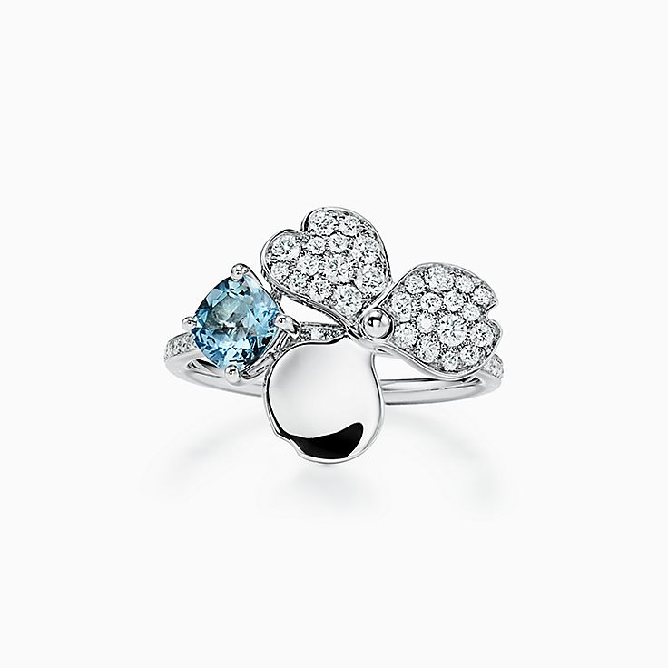 TiffanyPaperFlowers(MC):Bague Fleur à diamants avec aigue-marine