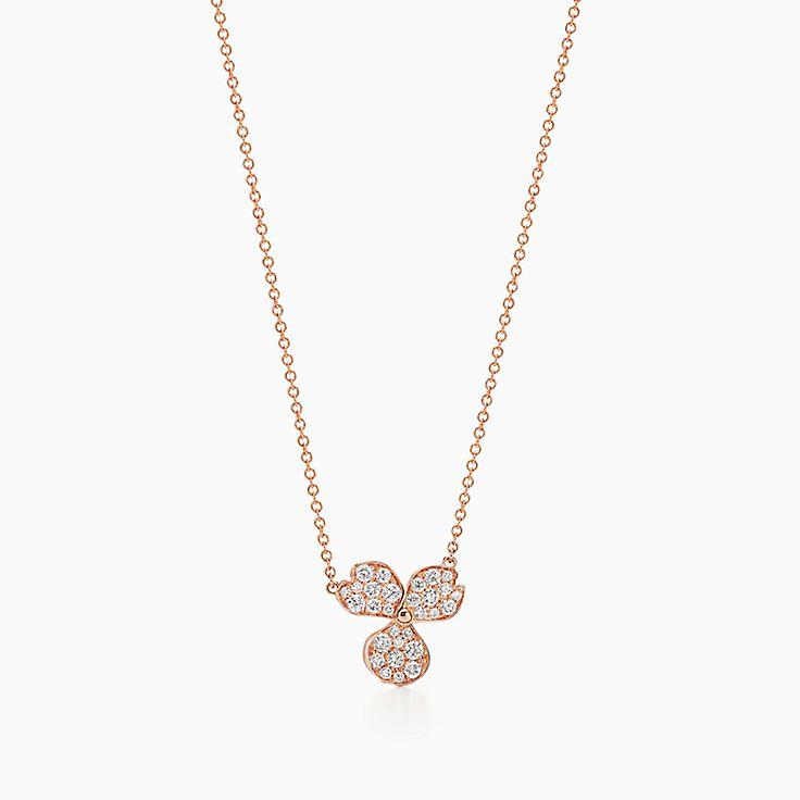 Tiffany Paper Flowers®:Pavé Diamond Flower Pendant