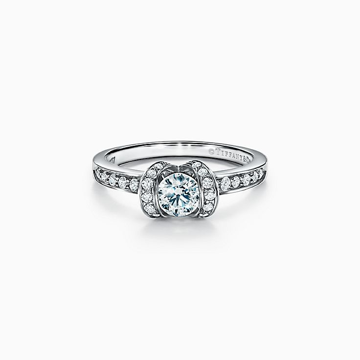 Tiffany Ribbon Engagement Ring in Platinum