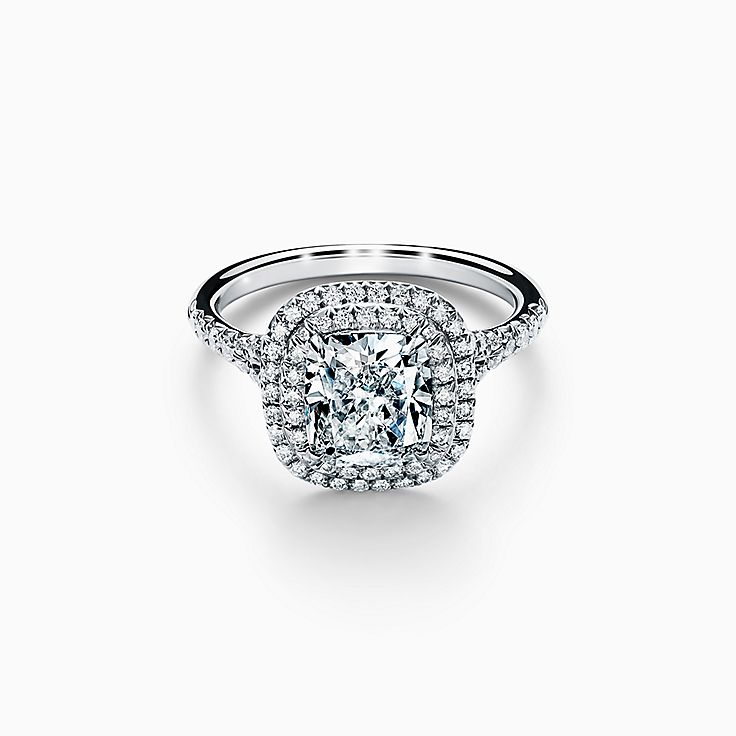 Tiffany Soleste Cushion-cut Double Halo Engagement Ring with a Diamond Platinum Band