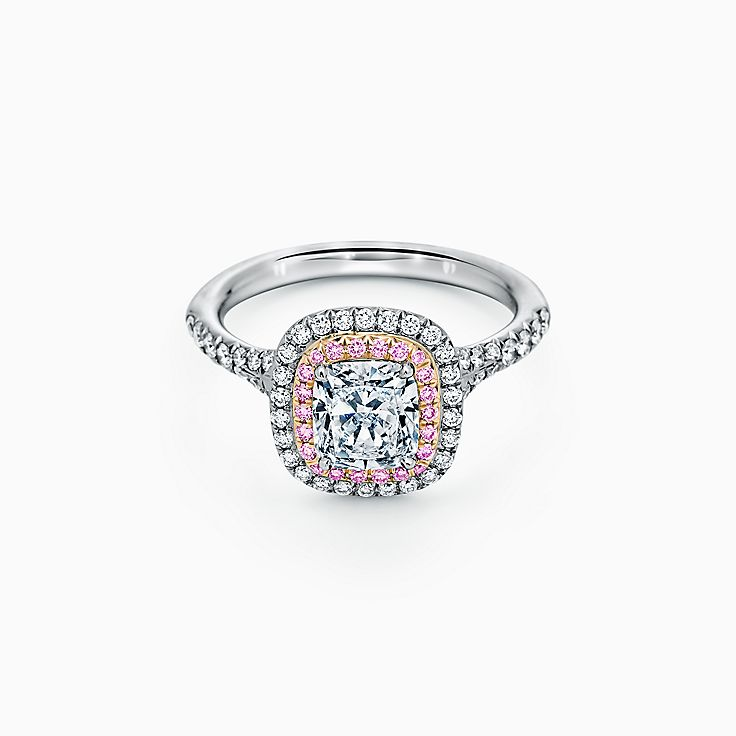 Tiffany Soleste Cushion-cut Double Halo Engagement Ring with Pink Diamonds in Platinum
