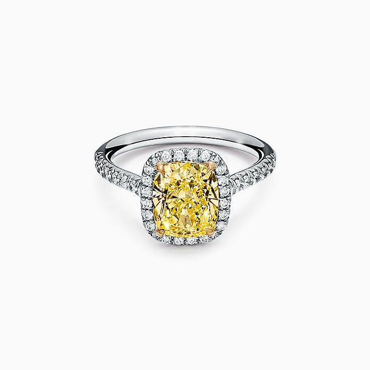 Tiffany Soleste Cushion-cut Halo Engagement Ring with a Diamond Platinum Band
