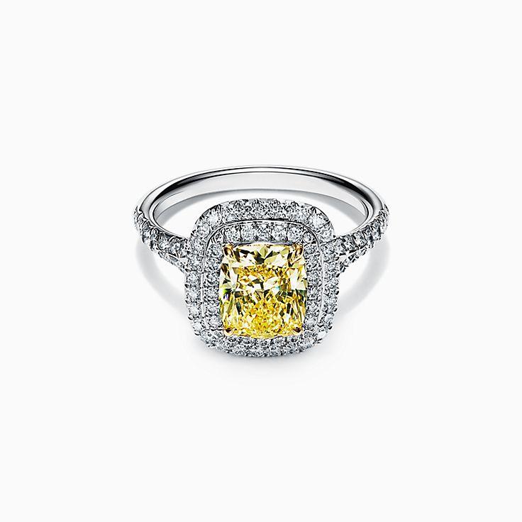Tiffany Soleste Cushion-cut Yellow Diamond Halo Engagement Ring in Platinum
