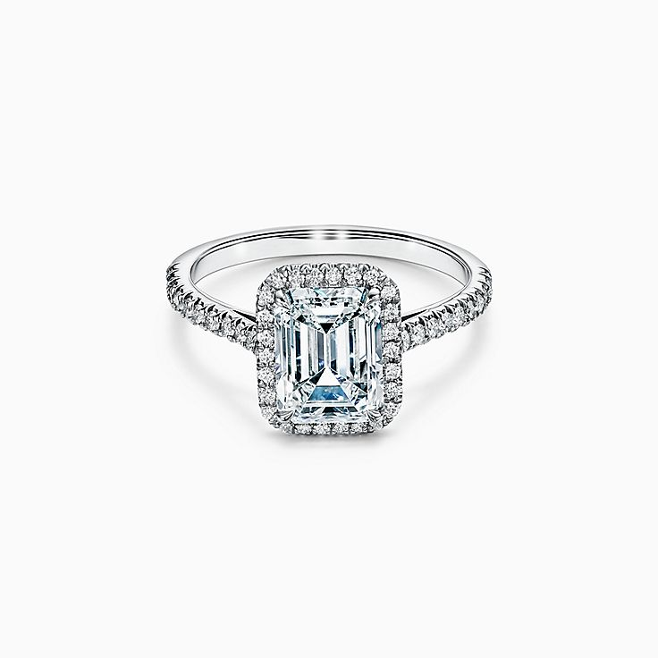 Tiffany Soleste Emerald-cut Halo Engagement Ring with a Diamond Platinum Band