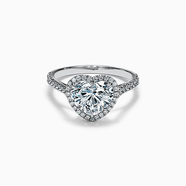 Tiffany Soleste Heart-shaped Halo Engagement Ring with a Diamond Platinum Band