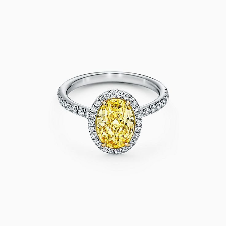 Tiffany Soleste Oval Halo Engagement Ring with a Diamond Band in Platinum