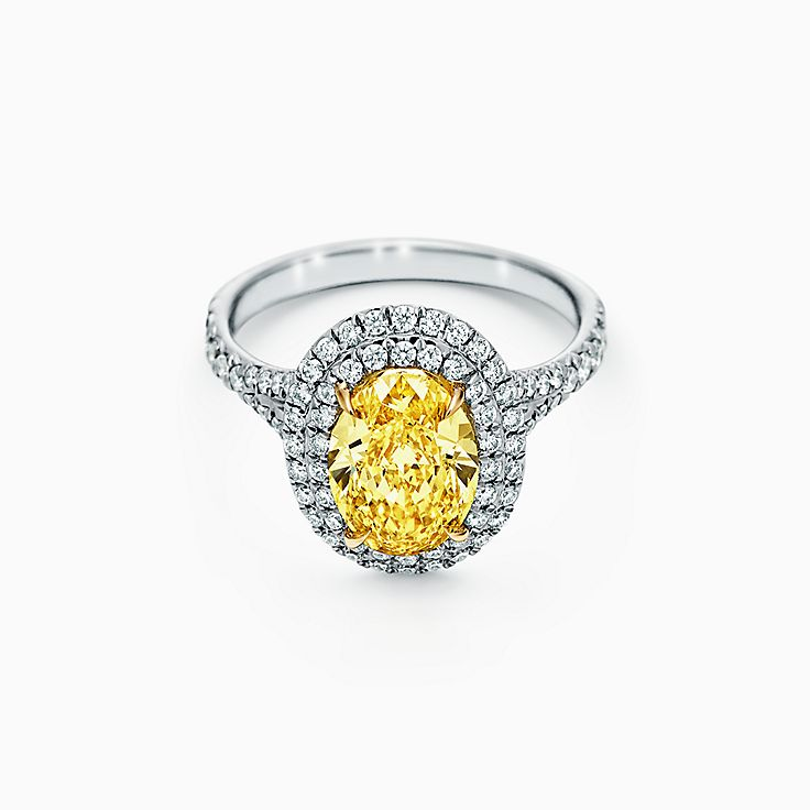 Tiffany Soleste Oval Yellow Diamond Double Halo Engagement Ring in Platinum