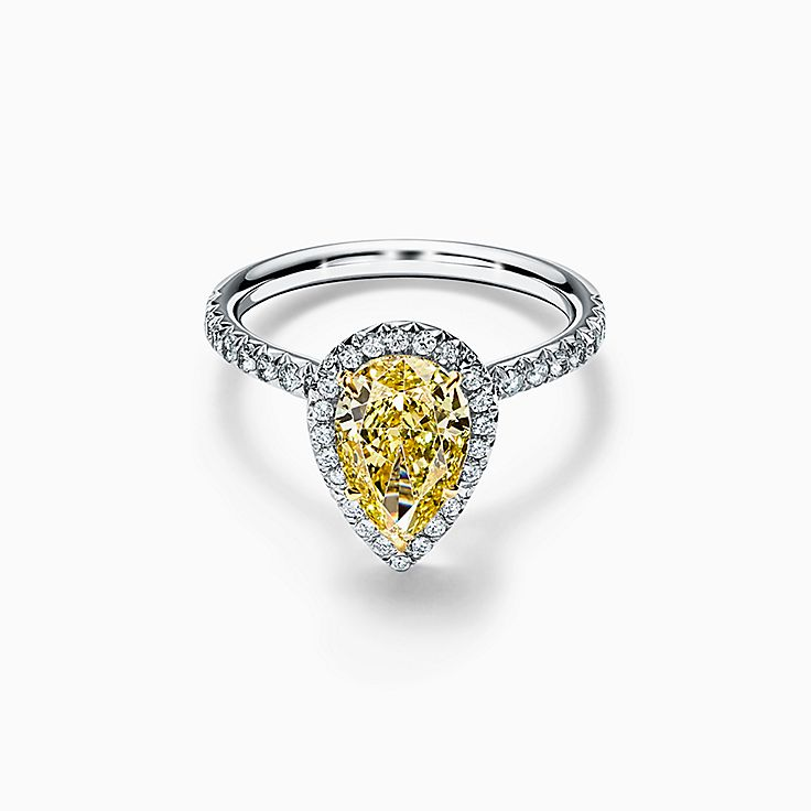 Tiffany Soleste Pear-shaped Halo Engagement Ring with a Diamond Band in Platinum