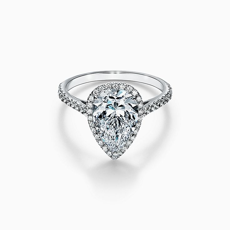 Tiffany Soleste Pear-shaped Halo Engagement Ring with a Diamond Platinum Band