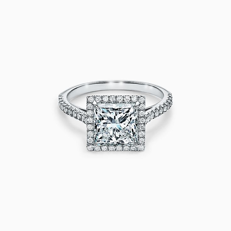 Tiffany Soleste Princess-cut Halo Engagement Ring with a Diamond Platinum Band