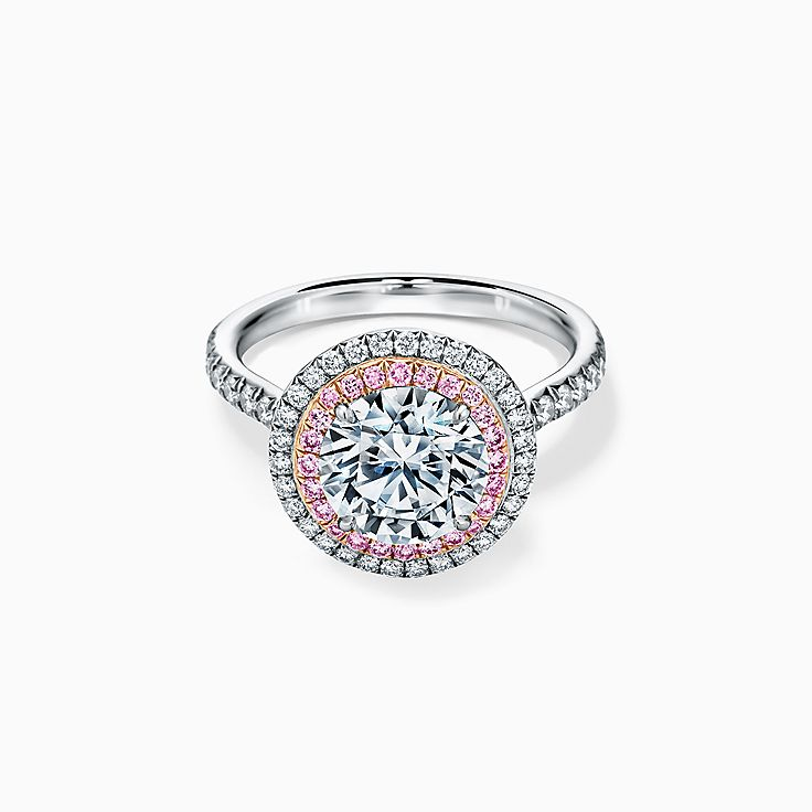 Tiffany Soleste Round Brilliant Double Halo Engagement Ring with Pink Diamonds in Platinum