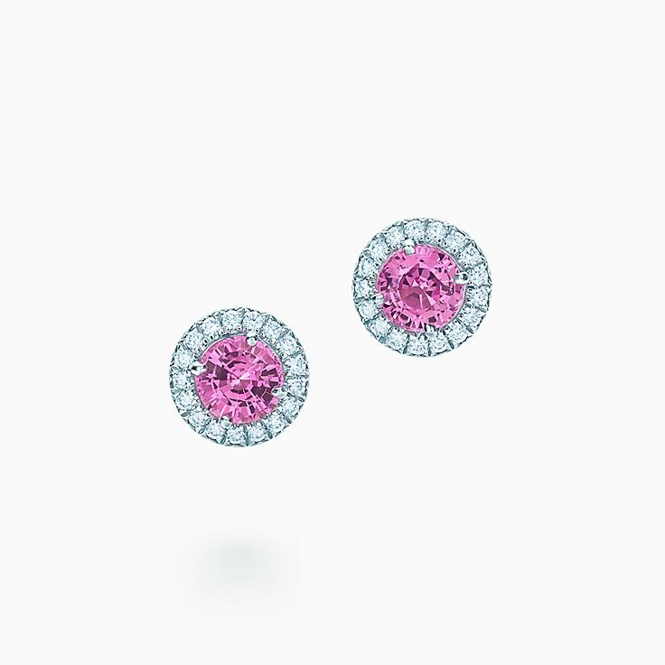 Tiffany Soleste:Pink Sapphire and Diamond Earrings