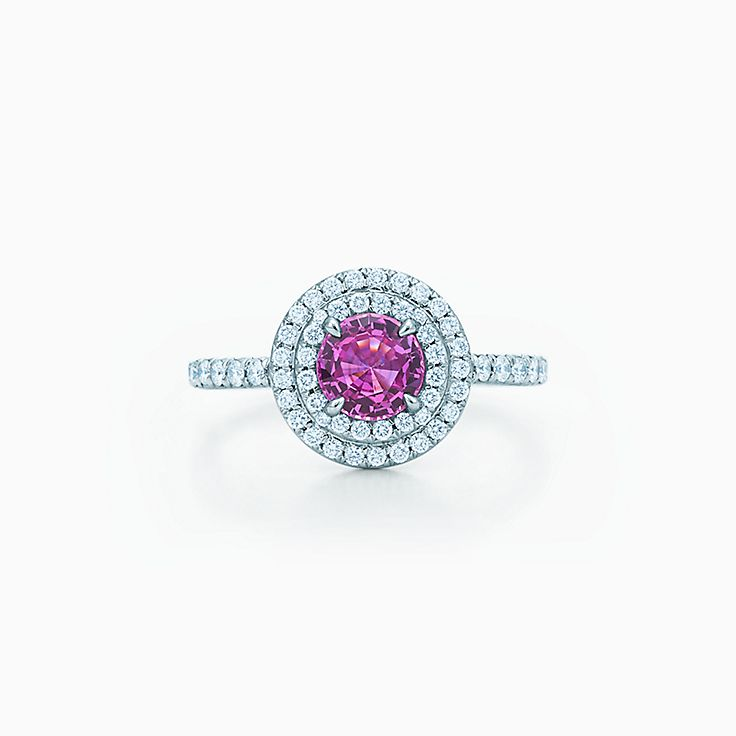 Tiffany Soleste:Pink Sapphire and Diamond Ring
