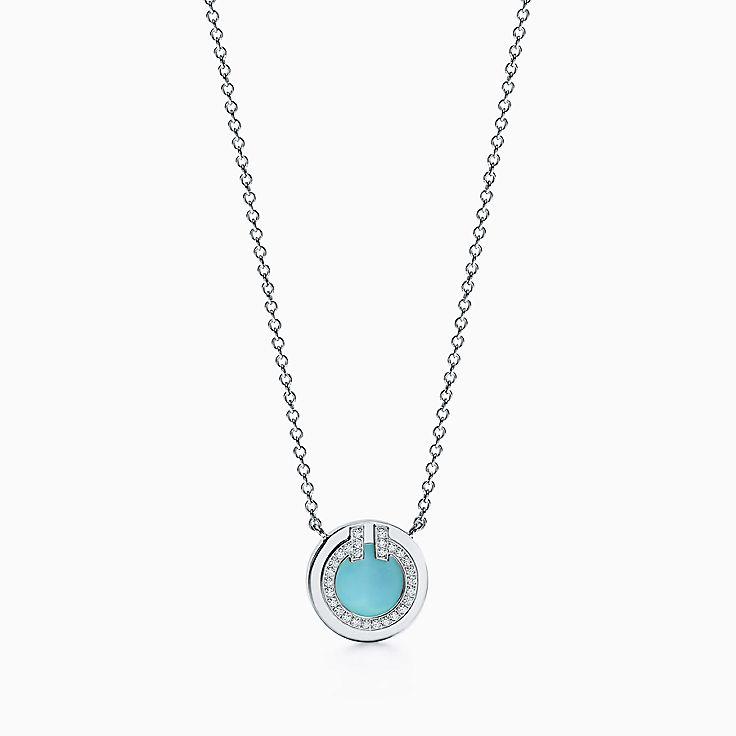 Tiffany T:Круглая подвеска Two из белого золота 18карат с бриллиантами и бирюзой, 40,6–45,7см