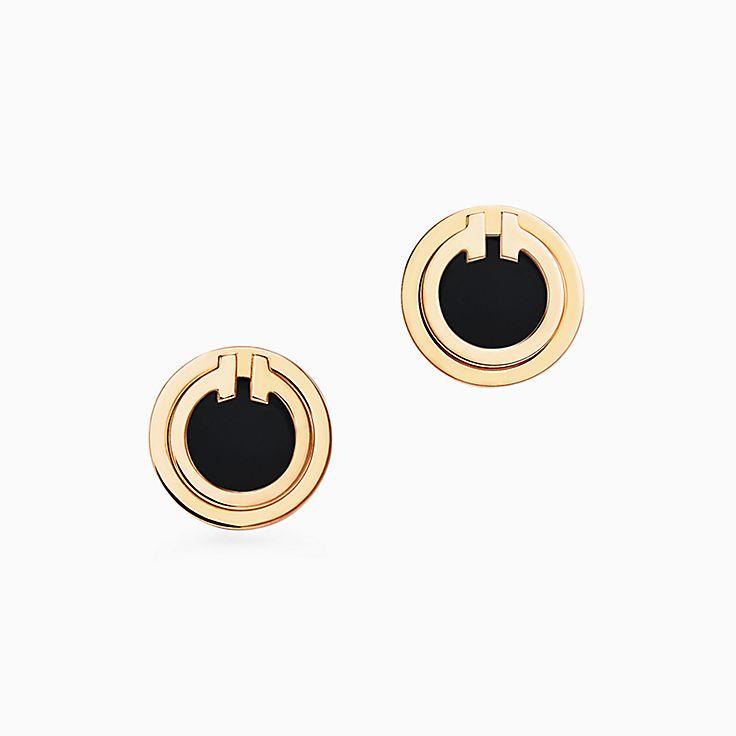 Tiffany T:Круглые серьги Two из золота 18карат с черным ониксом