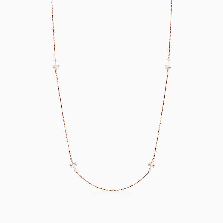 Tiffany T:Колье Two из розового золота 18карат с перламутром, 81,3см