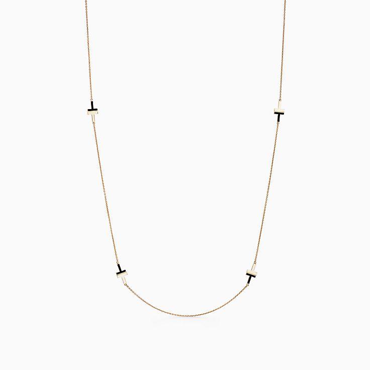 Tiffany T:Колье Two из золота 18карат с черным ониксом, 81,3см