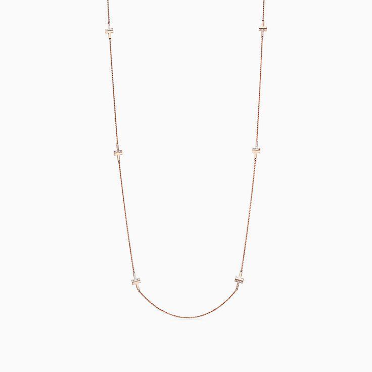 Tiffany T:Колье Two из розового золота 18карат с бриллиантами и перламутром, 81,3см