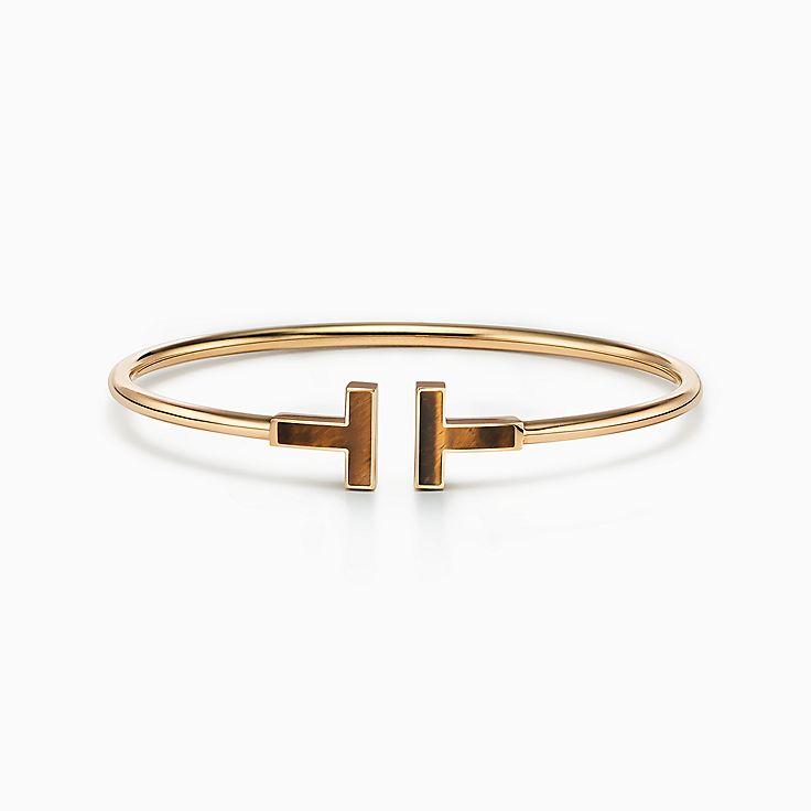 Tiffany T:Браслет Wire из золота 18карат с тигровым глазом