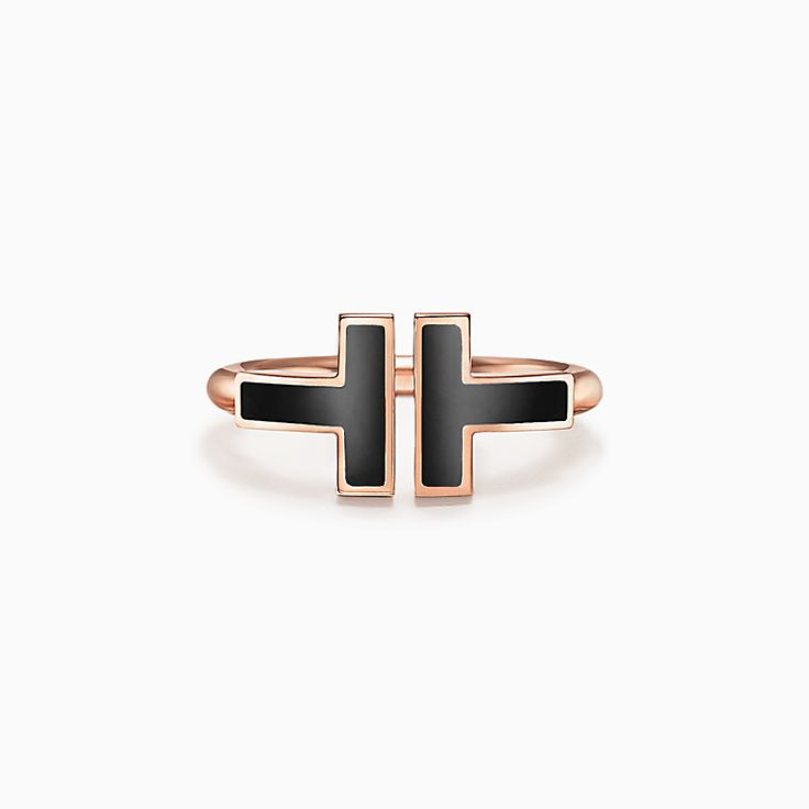 Tiffany T:18K玫瑰金鑲縞瑪瑙方形戒指