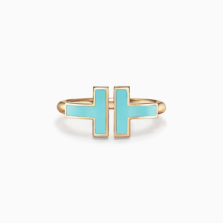 Tiffany T:18K黃金鑲綠松石方形戒指