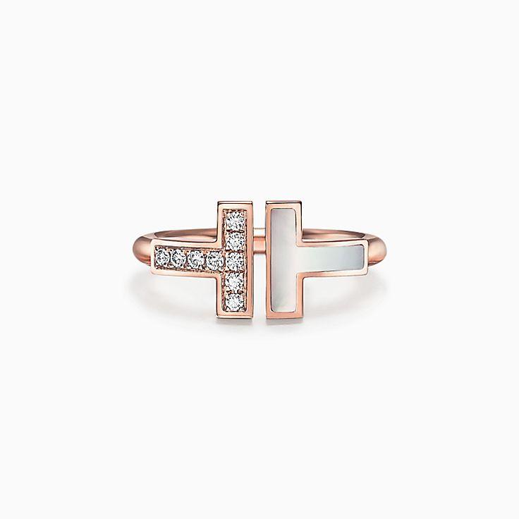 Tiffany T:18K玫瑰金鑲鑽石及珍珠貝母方形戒指